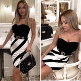 Fashionable lady white striped wrapped tight thin sexy bandage skirt