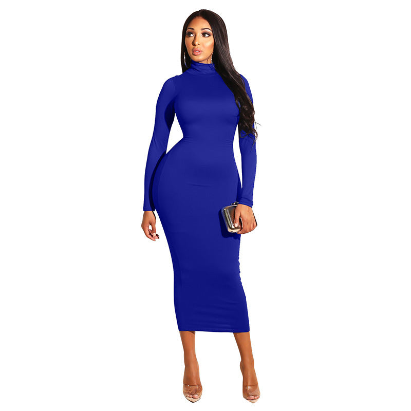 shinenows.com: long sleeve dress with a high neck
