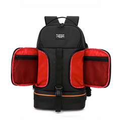 Backpack with waterproof shoulders and night reflector line