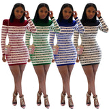 casual long-sleeved letter dress