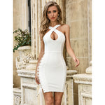 Hollowed out mini dress with thong