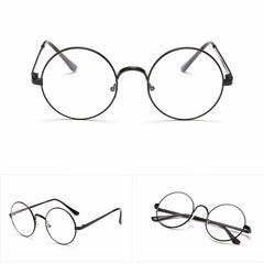 Retro glasses with a large round frame   Clean lens