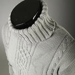 Jacquard sweater with a high lapel sweater