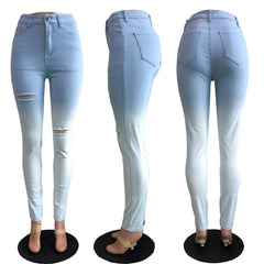 Blue and white gradient jeans