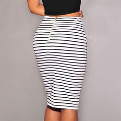 shinenows.com: Striped lace high-waisted skirt