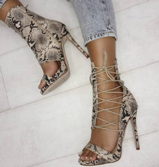 High snake skin with high-heeled cross straps