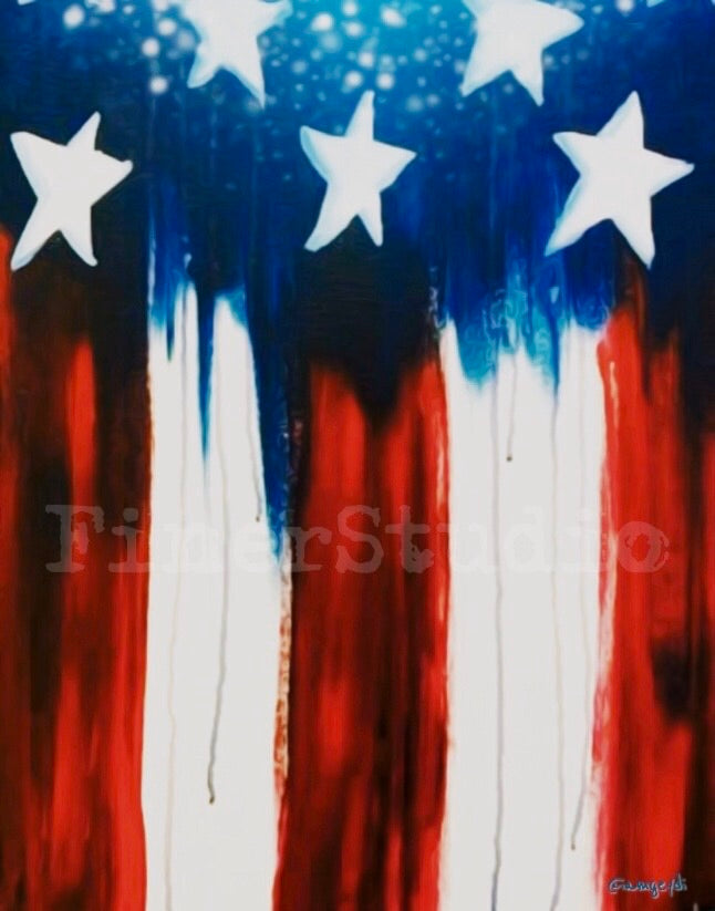 USA Flag Painting || DIY Painting || Adult Pinting