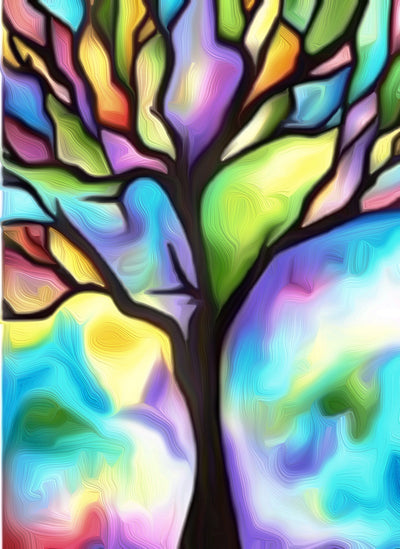 Color Full Tree Painting || DIY Painting || Adult Painting