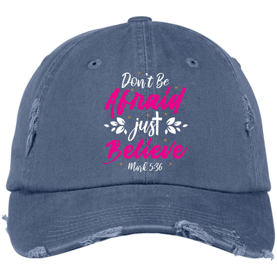 Believe Embroidered Christian Distressed Fishing Hat