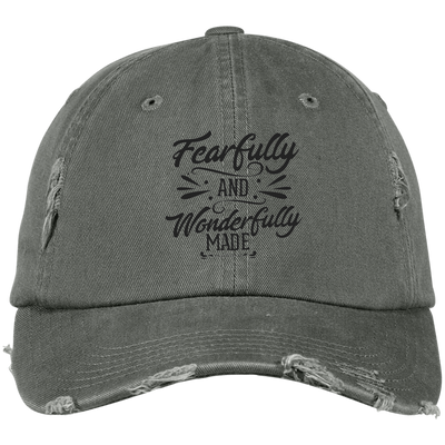 Wonderfully Made Embroidered Christian Distressed Fishing Hat style 2