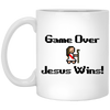 Game Over Jesus Wins Christian 11 oz. White Mug