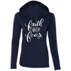 Faith Over Fear Christian Ladies Hooded Long Sleeve Shirt