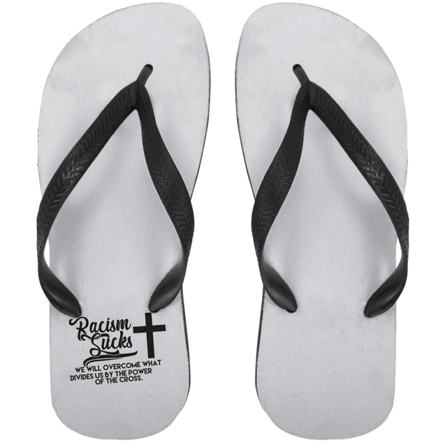 Racism Sucks Christian Adult Flip Flops