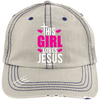 Girl Loves Jesus Embroidered Christian Distressed Trucker Hat
