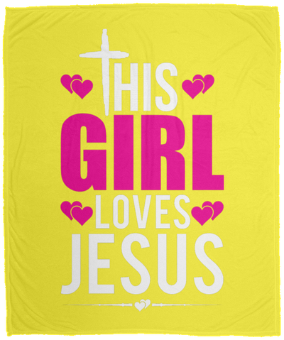 This Girl Loves Jesus Christian Cozy Plush Fleece Blanket - 50x60