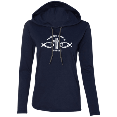 Created With Purpose Christian Ladies Hooded Long Sleeve Shirt