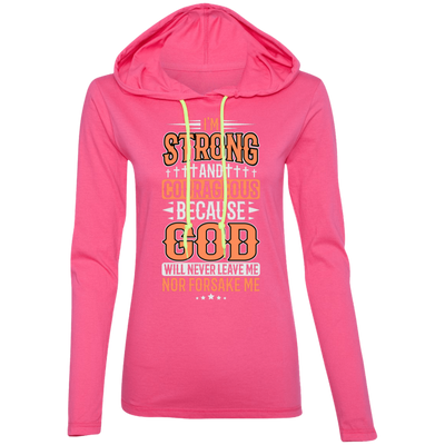 I'm Strong Christian Ladies Hooded Long Sleeve Shirt
