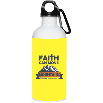 Faith Can Move Mountains Christian 20 oz. Stainless Steel White Water Bottle
