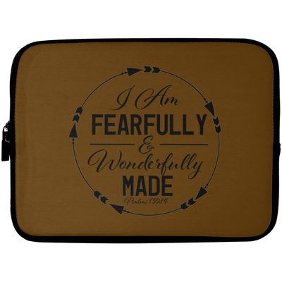 Fearfully & Wonderfully Made Christian Laptop Sleeve - 10 inch