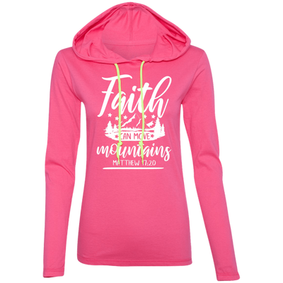 Faith Can Move Mountains Christian Ladies Hooded Long Sleeve Shirt