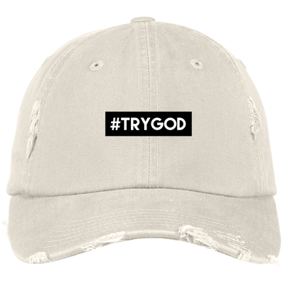 #TRYGOD Embroidered Christian Distressed Fishing Hat
