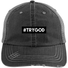 #TRYGOD Embroidered Christian Distressed Trucker Hat