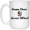Game Over Jesus Wins Christian 15 oz. White Mug