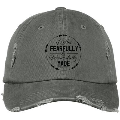 Wonderfully Made Embroidered Christian Distressed Fishing Hat Style 1