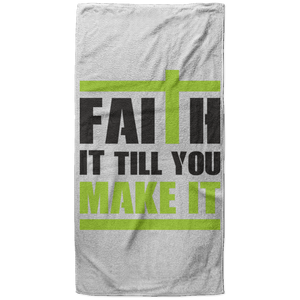 Faith It Till You Make It Christian Oversized Beach Towel - 37x74