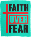 Faith Over Fear Christian Cozy Plush Fleece Blanket - 50x60