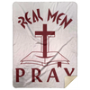 Real Men Pray Christian Mink Sherpa Blanket 60x80