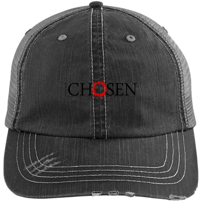 Chosen Embroidered Christian Distressed Trucker Hat