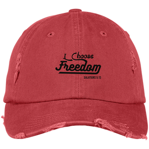 I Choose Freedom Embroidered Christian Distressed Fishing Hat