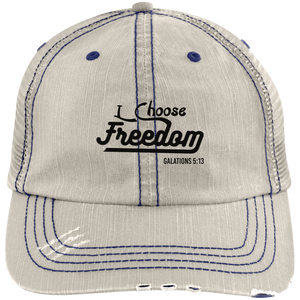 I Choose Freedom Embroidered Christian Distressed Trucker Hat
