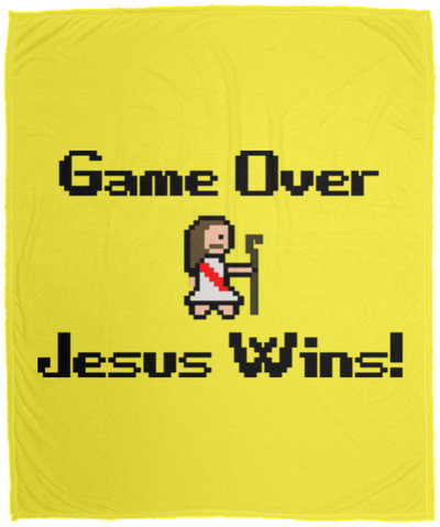 Game Over Jesus Wins Christian Cozy Plush Fleece Blanket - 50x60