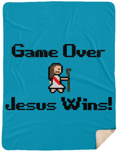 Game Over Jesus Wins Christian Sherpa Blanket - 60x80