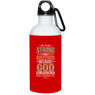 I'm Strong Christian 20 oz. Stainless Steel White Water Bottle