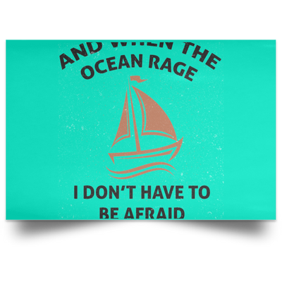 When The Ocean Rage Christian Satin Landscape Poster