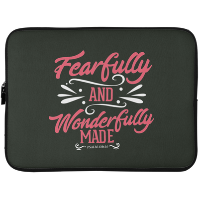 Fearfully & Wonderfully Made Christian Laptop Sleeve - 15 Inch