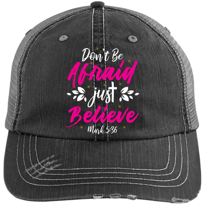 Believe Embroidered Christian Distressed Trucker Hat