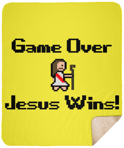 Game Over Jesus Wins Christian Sherpa Blanket - 50x60