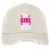 Girl Loves Jesus Embroidered Christian Distressed Fishing Hat