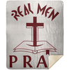 Real Men Pray Christian Mink Sherpa Blanket 50x60