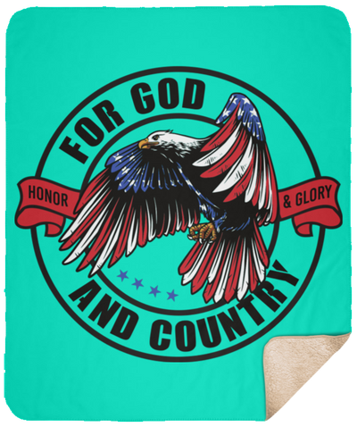 For God & Country Christian Sherpa Blanket - 50x60