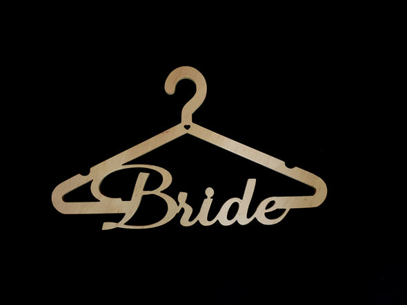 "Wooden Wedding ""Bride"" Hanger"