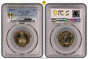 2016 $1 Changeover Counterstamp - This coin is one of only 2 graded at MS69 by PCGS