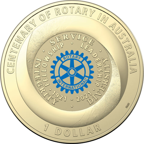 2021 Centenary of Rotary Coloured $1 Carded