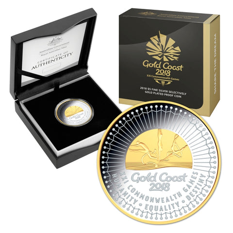 2018 Commonwealth Games Gold Plated $5 1oz Silver Proof