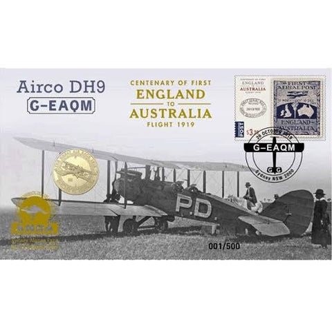 2019 Centenary of the First Flight Airco DH9 Sydney Money Expo ANDA $1 PNC