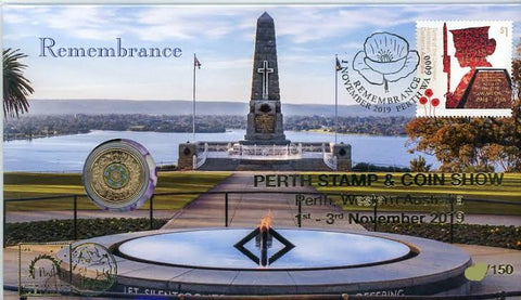 "2019 Remembrance $2 Royal Australian Mint PNC overprinted ""Perth Stamp & Coin Show"""